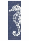 Large Seahorse with Denim Background Vintage Style Metal Sign