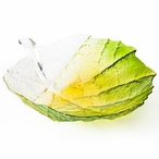 Large Spring Green/Yellow Color Crystal Bowl by Mats Jonasson