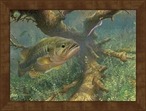 Large Tight to Cover Bass Fish Framed Canvas Art Print Wall Art