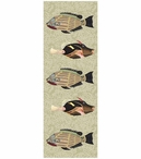 Large Very Fishy Abstract Fish Vertical Vintage Style Wooden Sign