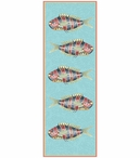 Large Very Fishy Blue Abstract Fish Vertical Vintage Style Wooden Sign