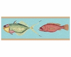 Large Very Fishy Blue Abstract Fish Vintage Style Wooden Sign