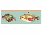 Large Very Fishy Light Blue Abstract Fish Vintage Style Wooden Sign