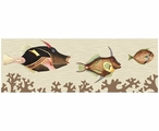 Large Very Fishy & Light Coral Abstract Fish Vintage Style Wooden Sign