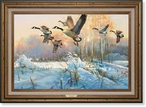 Late Departure Canada Geese Framed Canvas Art Print Wall Art