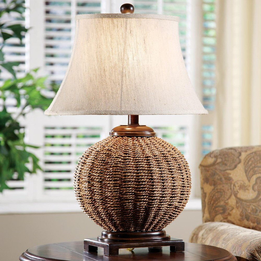 Bamboo Oval Table Lamp: Latham Wicker Table Lamp With Oval Textured Linen Shade