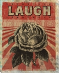 """Laugh"" with Flower Wrapped Canvas Giclee Print Wall Art"