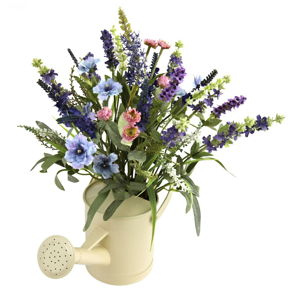 Lavender Silk Flower Arrangement With Watering Can Artificial