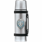 Law Enforcement Protect Serve Blue Stainless Steel Thermos with Pewter