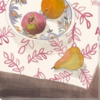Leaf Print with Apple Pear Orange Wrapped Canvas Giclee Print