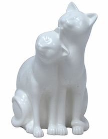 Leaning on Cat Sculpture