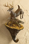 Leaping Deer Hand Painted Sculpted Single Wall Hooks, Set of 3
