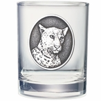 Leopard Pewter Accent Double Old Fashion Glasses, Set of 2