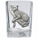 Leopard Pewter Accent Shot Glasses, Set of 4