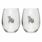 Leopard Pewter Accent Stemless Wine Glass Goblets, Set of 2
