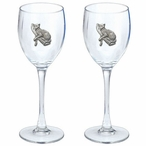 Leopard Pewter Accent Wine Glass Goblets, Set of 2