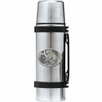 Leopard Stainless Steel Thermos with Pewter Accent