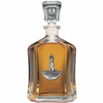 Lighthouse Capitol Glass Decanter with Pewter Accents