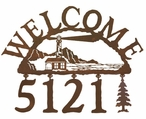 Lighthouse Metal Address Welcome Sign