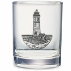 Lighthouse Pewter Accent Double Old Fashion Glasses, Set of 2