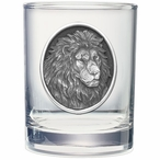 Lion Oval Pewter Accent Double Old Fashion Glasses, Set of 2