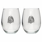 Lion Pewter Accent Stemless Wine Glass Goblets, Set of 2