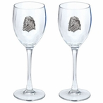 Lion Pewter Accent Wine Glass Goblets, Set of 2