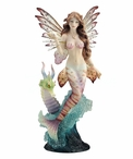 Lionfish Mermaid with Seahorse Dragon Sculpture