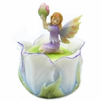 Little Fairy Kneeling on a Tulip Flower Trinket Box, Set of 2