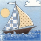Little Sailor Sailboat I Wrapped Canvas Giclee Print Wall Art