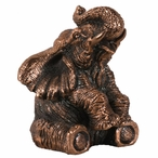 Little Sitting Elephant Statue - Copper Finish