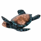 Little Swimming Turtle Statue - Copper Mixed with Verdigris Finish