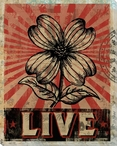 """Live"" with Flower Wrapped Canvas Giclee Print Wall Art"