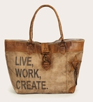 Live Work Create Stonewashed Canvas and Soft Leather Tote Bag
