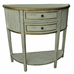 Livingston Textured 2 Drawer Demilune Wood Console Table