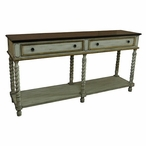 Livingston Textured 2 Drawer Rope Twist Console Table with Wood Top
