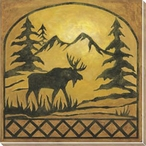 Lodge Moose Silhouette Wrapped Canvas Giclee Print Wall Art
