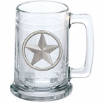 Lone Star Glass Beer Mug with Pewter Accent