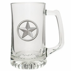 Lone Star Glass Super Beer Mug with Pewter Accent