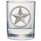 Lone Star Pewter Accent Double Old Fashion Glasses, Set of 2