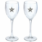 Lone Star Pewter Accent Wine Glass Goblets, Set of 2