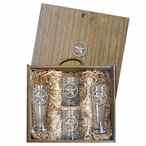Lone Star Pilsner Glasses & Beer Mugs Box Set with Pewter Accents