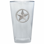 Lone Star Pint Beer Glasses with Pewter Accent, Set of 2