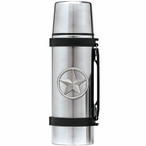 Lone Star Stainless Steel Thermos with Pewter Accent