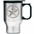 Lone Star Stainless Steel Travel Mug with Handle and Pewter Accent