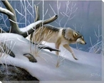 Lone Wolf in the Snow Wrapped Canvas Giclee Print Wall Art