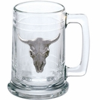 Longhorn Steer Glass Beer Mug with Pewter Accent