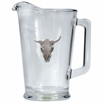 Longhorn Steer Glass Pitcher with Pewter Accent
