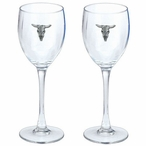 Longhorn Steer Pewter Accent Wine Glass Goblets, Set of 2