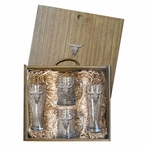 Longhorn Steer Pilsner Glasses & Beer Mugs Box Set with Pewter Accents
